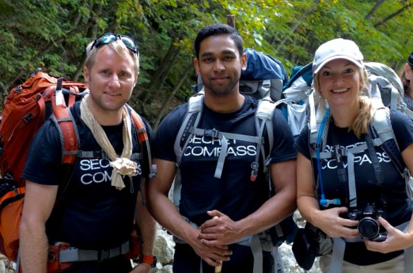 Secret Compass team mates pose for the camera on north Korean hike