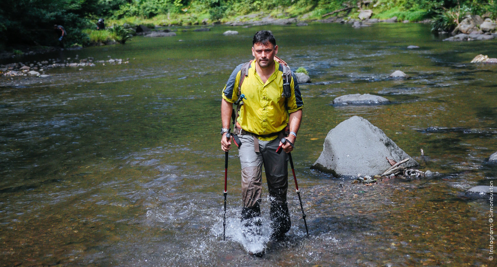 No jungle expedition is complete without wading through running water. Rick demonstrates this in the depths of the Darien Gap