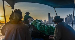 Heading to Panama city by boat before the trek