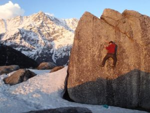 A spot of alpine bouldering at the foot of India's Dhauladhar range