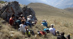 Group in mountainside, Armenia expedition with Secret Compass, joined by Tom Allen of the Transcaucasian trail6