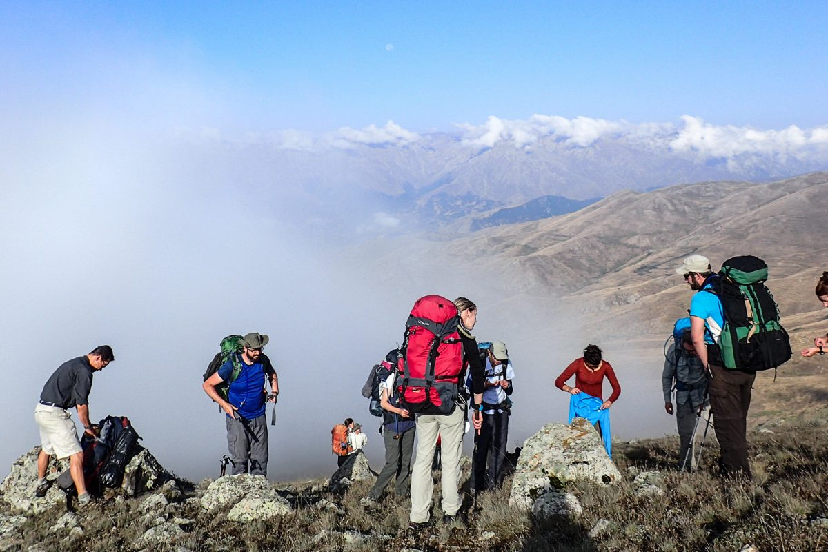 Group on hillside in mist, Armenia expedition with Secret Compass, joined by Tom Allen of the Transcaucasian trail9
