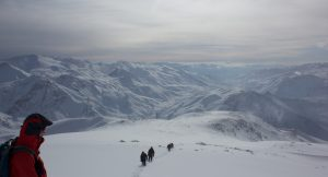 Trekkers on the mountain in the Mount Halgurd region of the Zagros mountains in Iraqi Kurdistan on an expedition with (c) Secret Compass 2