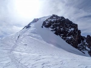 The final push to the summit of Mt. Kazbek in Georgia