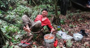 Rick Morales, after a long day's jungle trek confident in the knowledge his feet are healthy and well.