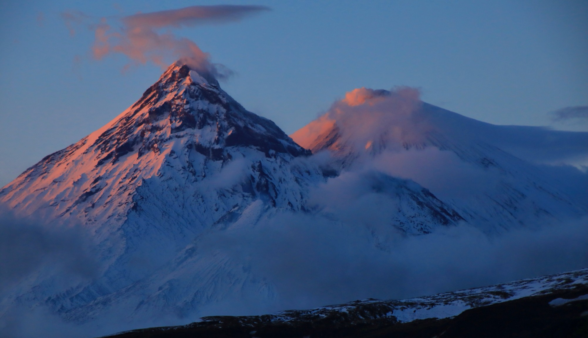 Volcanos in Kamchatka as shot on Secret Compass expedition by Cheryl Hindle