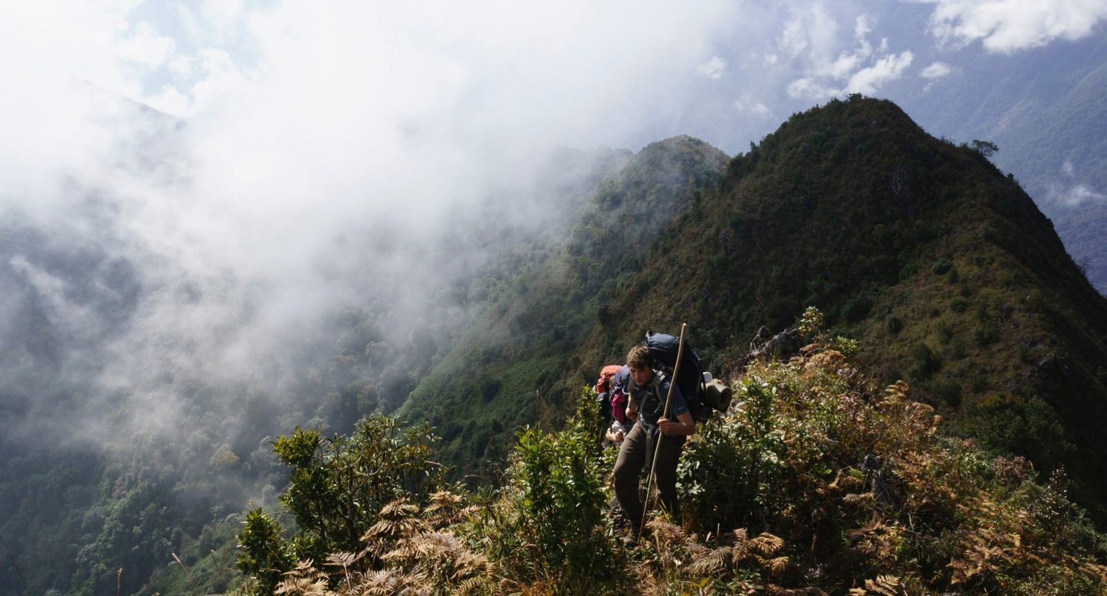 Trekking along a Burmese ridgeline on the way to Mount Saramati