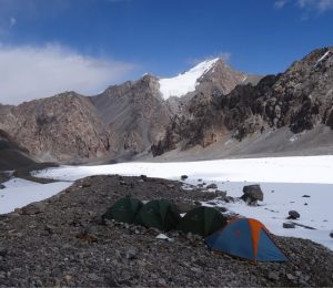 Wild camping in the Inner Tien Shan mountains of Central Asia
