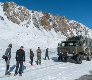 soviet 4X4 all terrain vehicle taking climbers into the Tien Shan mountains of Kygyzstan