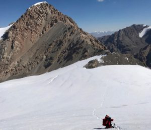 Roped in descent of an unclimbed peak in Kygyzstan's Inner Tien Shan
