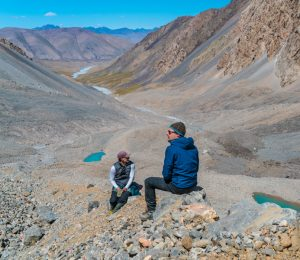 A moment to appreciate the landscape in Kyrgyzstan's Tien Shan