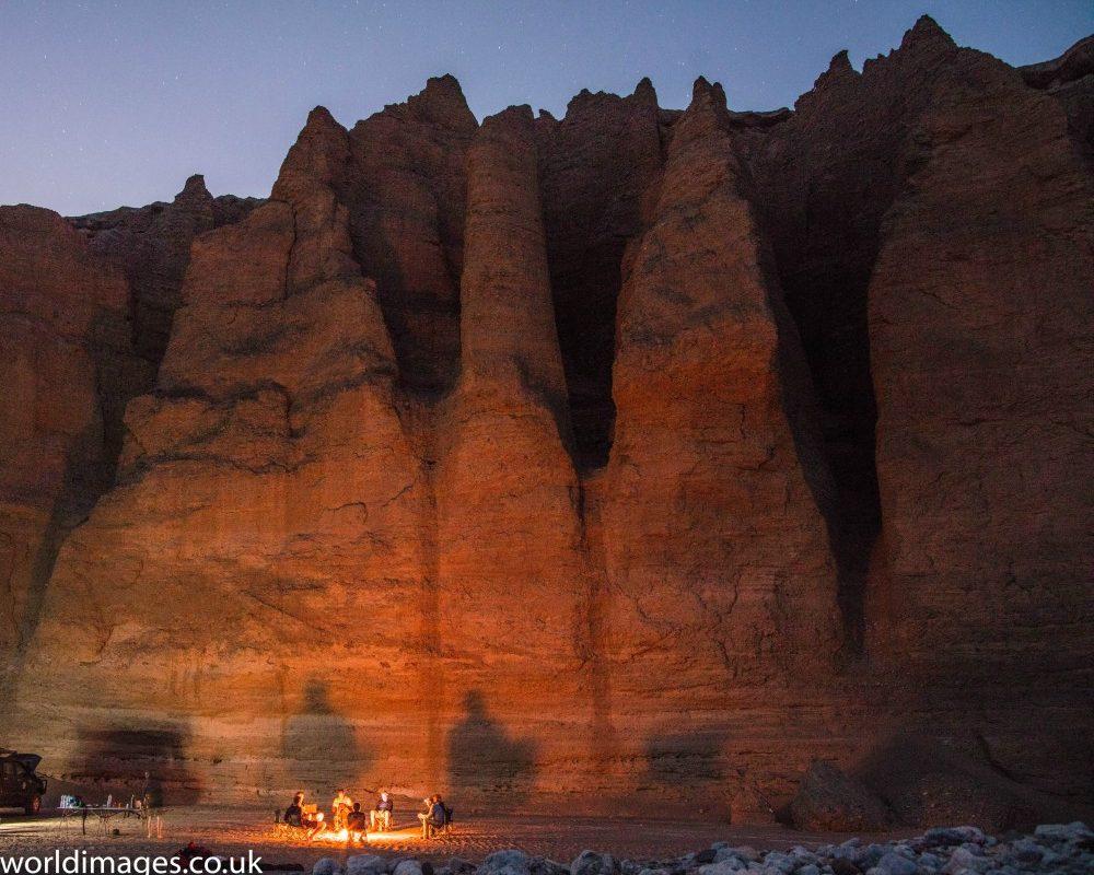 Kalut camp fire in the Lut desert