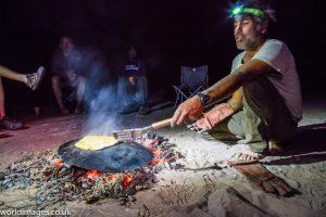 Camp fire in Iran's Lut desert