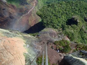 Don't look down, view of the edge of Angel Falls Venezuela