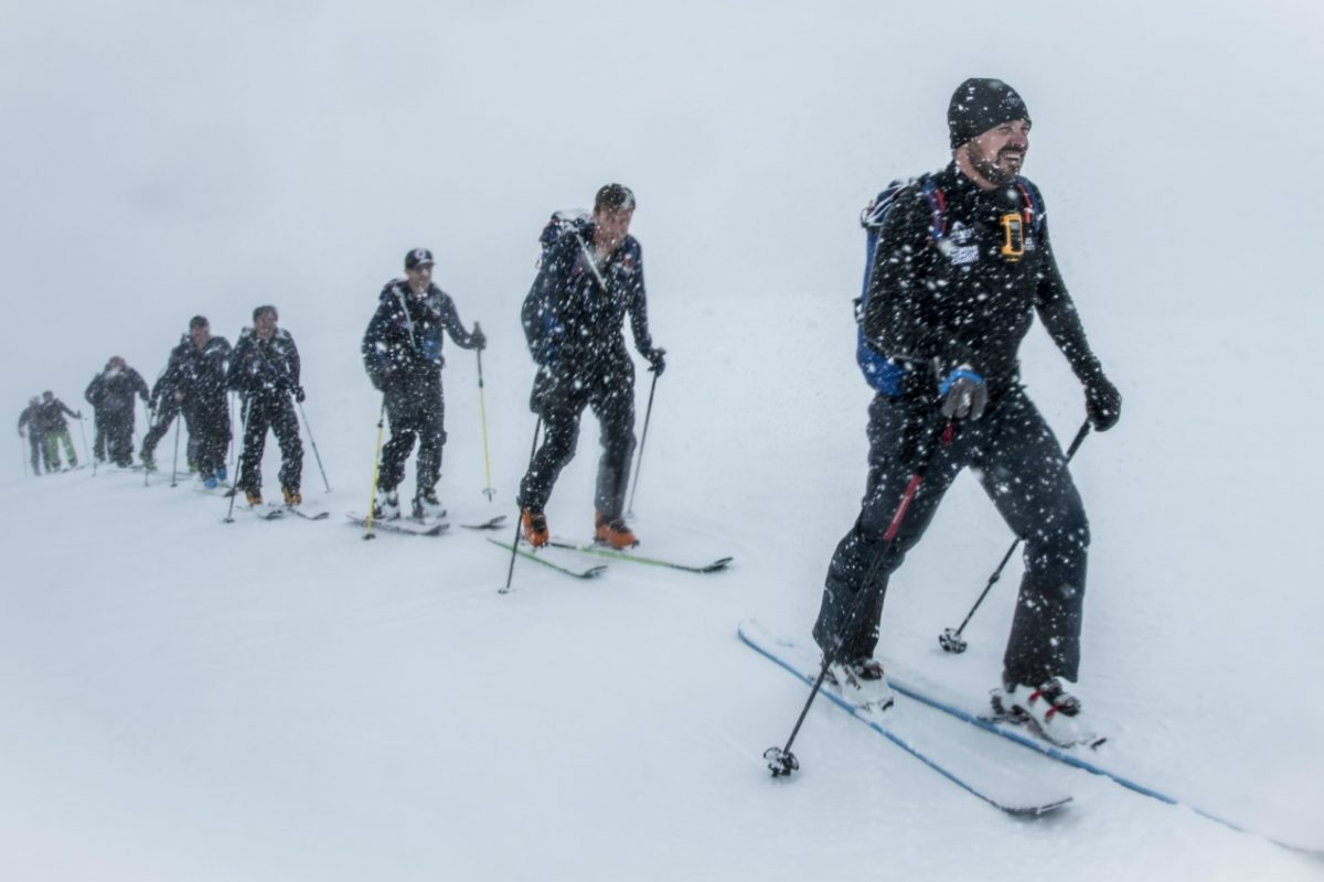 Tom Bodkin of Secret Compass leads his team through a whiteout to reach the daily elevation target on their way to scaling 8,848m © Adventure In Focus