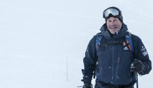 Along with 30 others, best known as the Channel 4 presenter of Location, Location, Location, Phil Spencer was an integral part of the charity's epic ski tour in Verbier © Adventure In Focus