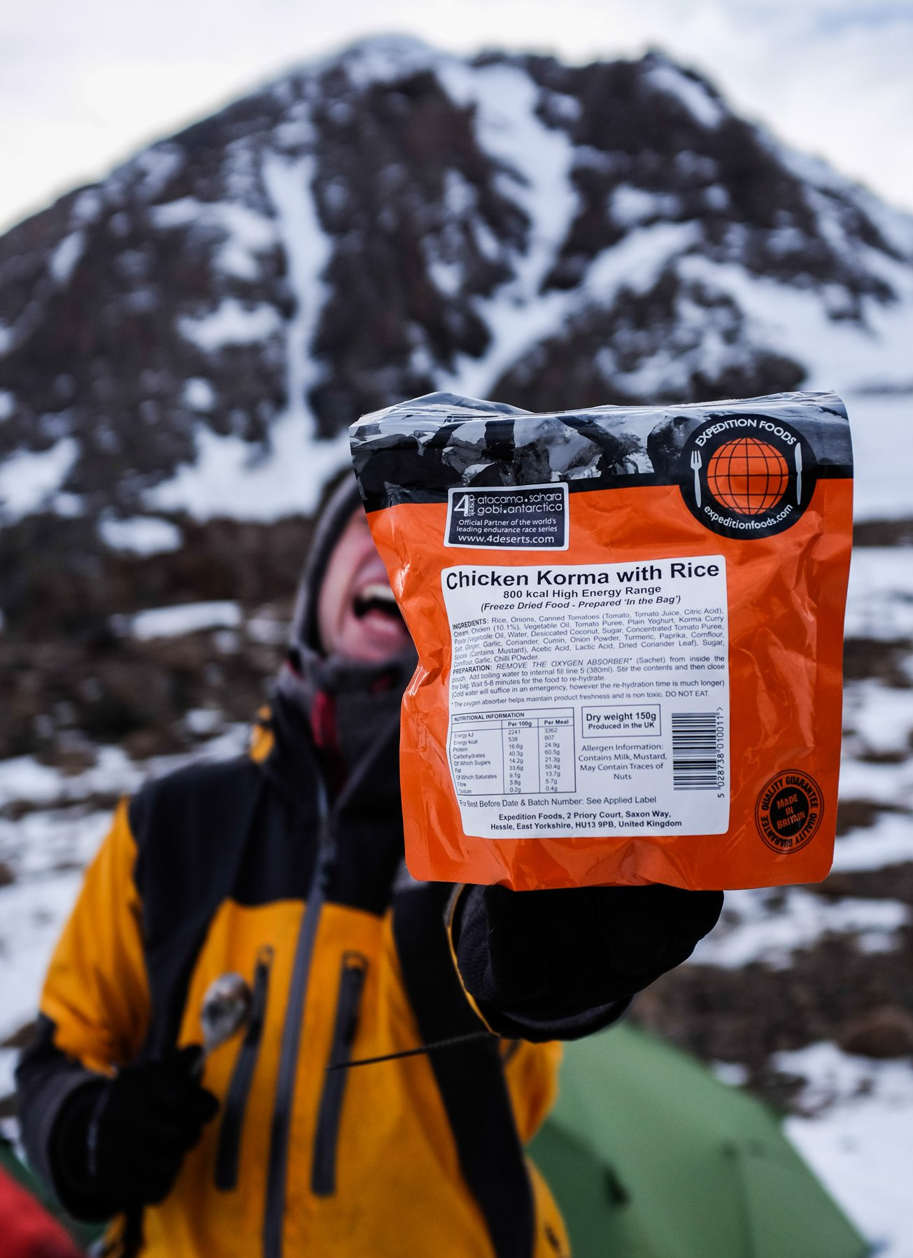 Lightweight, warm and sustaining, dehydrated meals from Expedition Foods are perfect for mountaineering expeditions