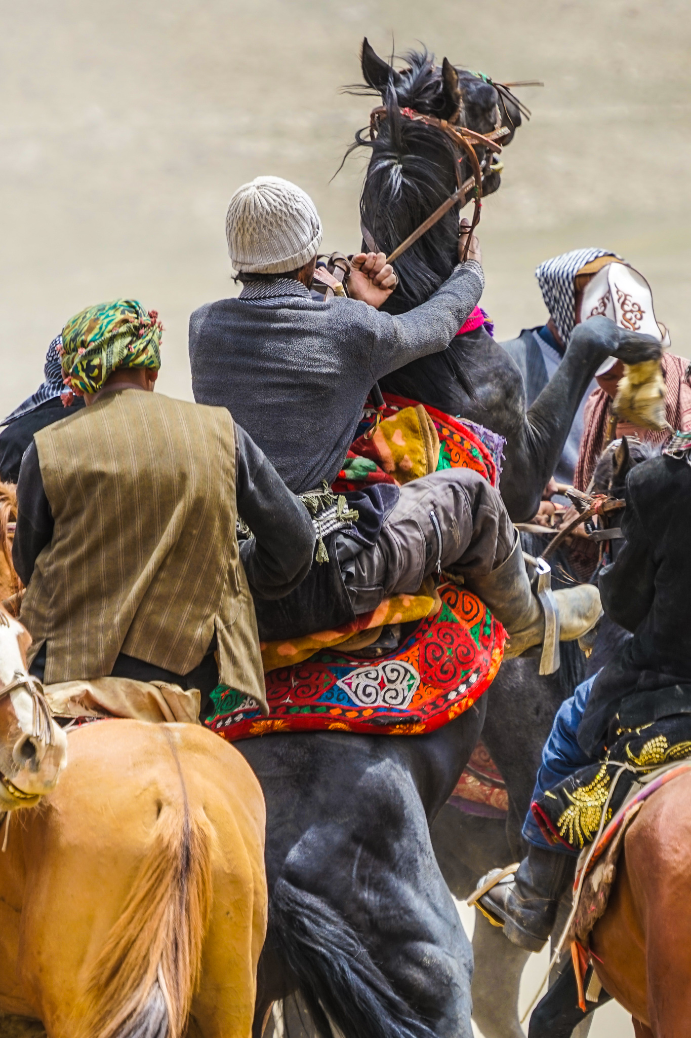 During a game of buzkashi, Wakhi men rear their horses