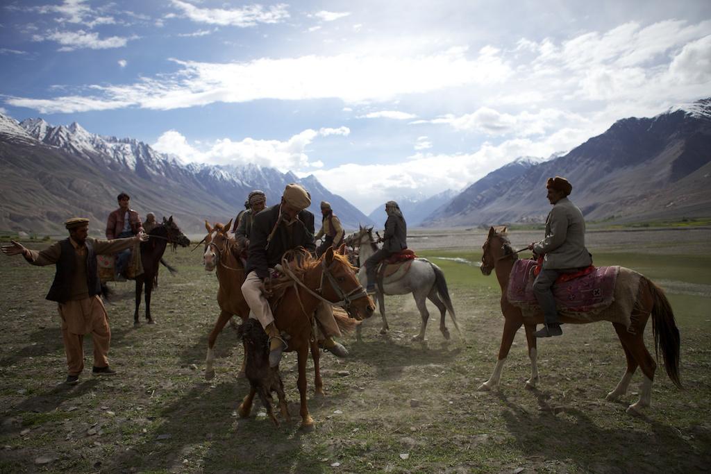 Horsemen in the Wakhan Corridor lineup a game of buzkashi