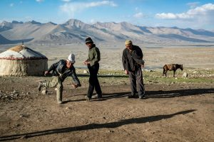 Local men play games in the Wakhan Corridor