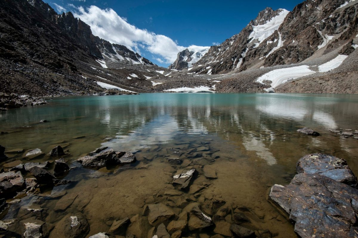 Alpine lake high up in the mountains of the Wakhan Corridor