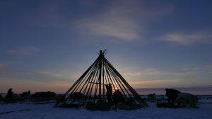 A Chum is erected at dusk