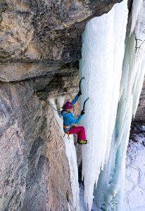 Beth Goralski ice climbing, shot by Scott Cramer